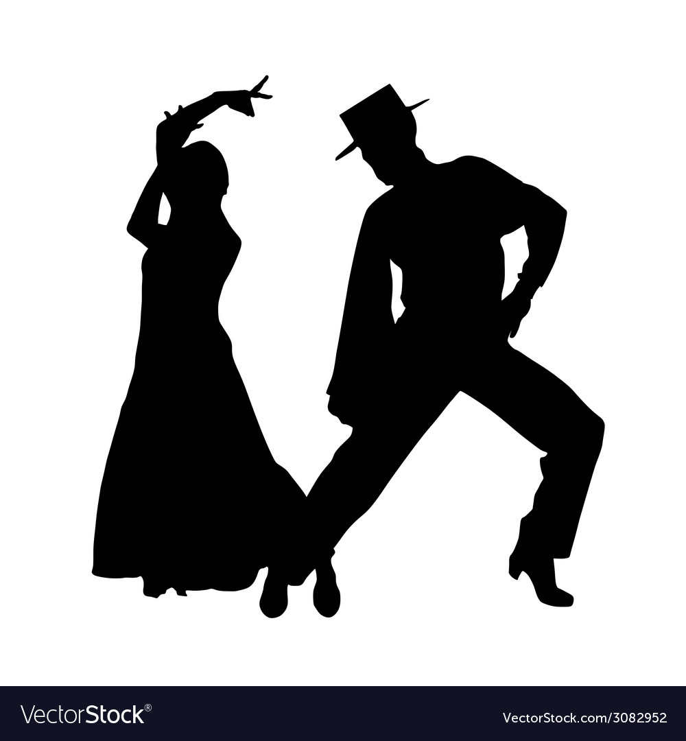 Couple dance silhouette vector | Price: 1 Credit (USD $1)