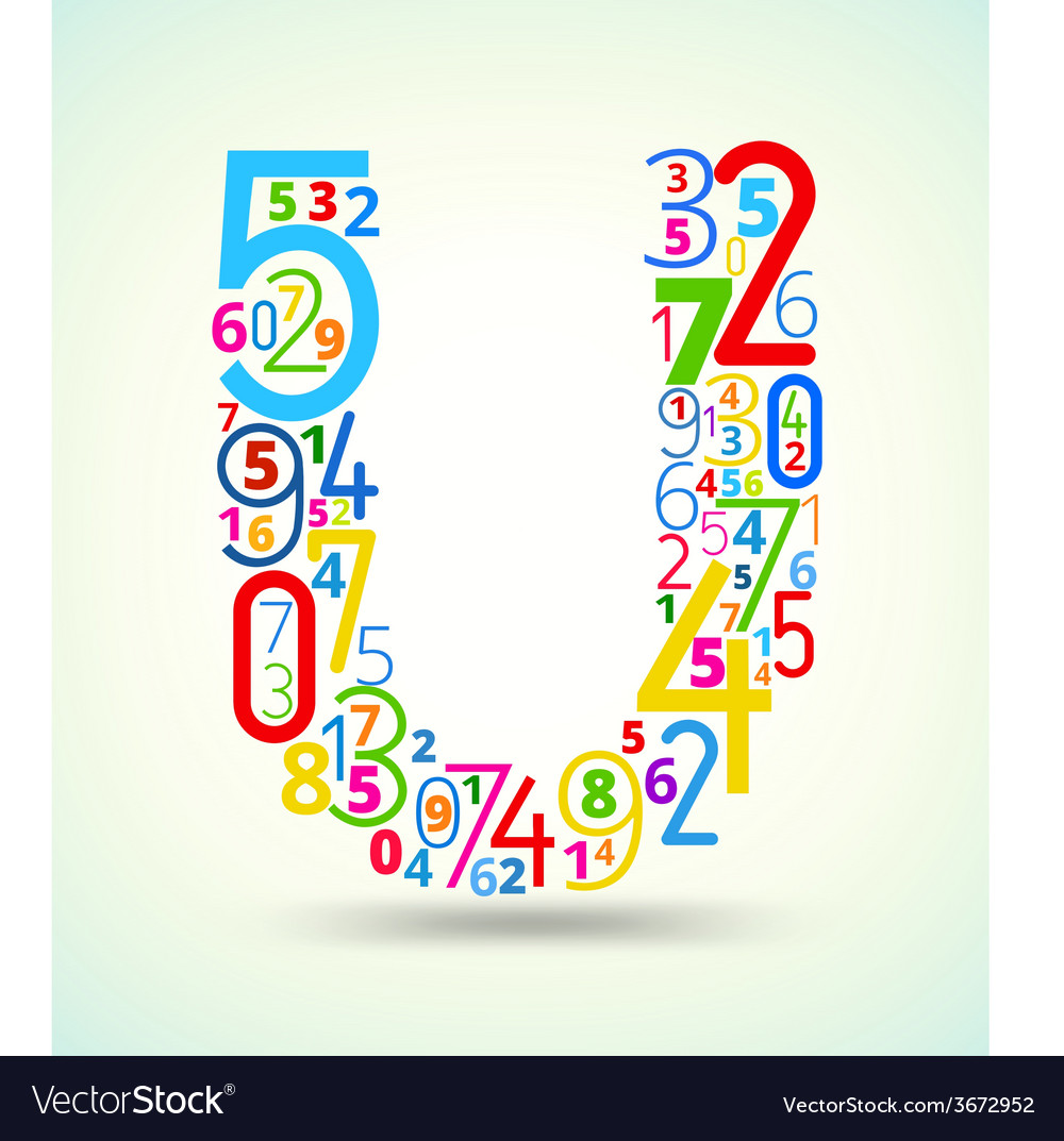 Letter u colored font from numbers vector | Price: 1 Credit (USD $1)