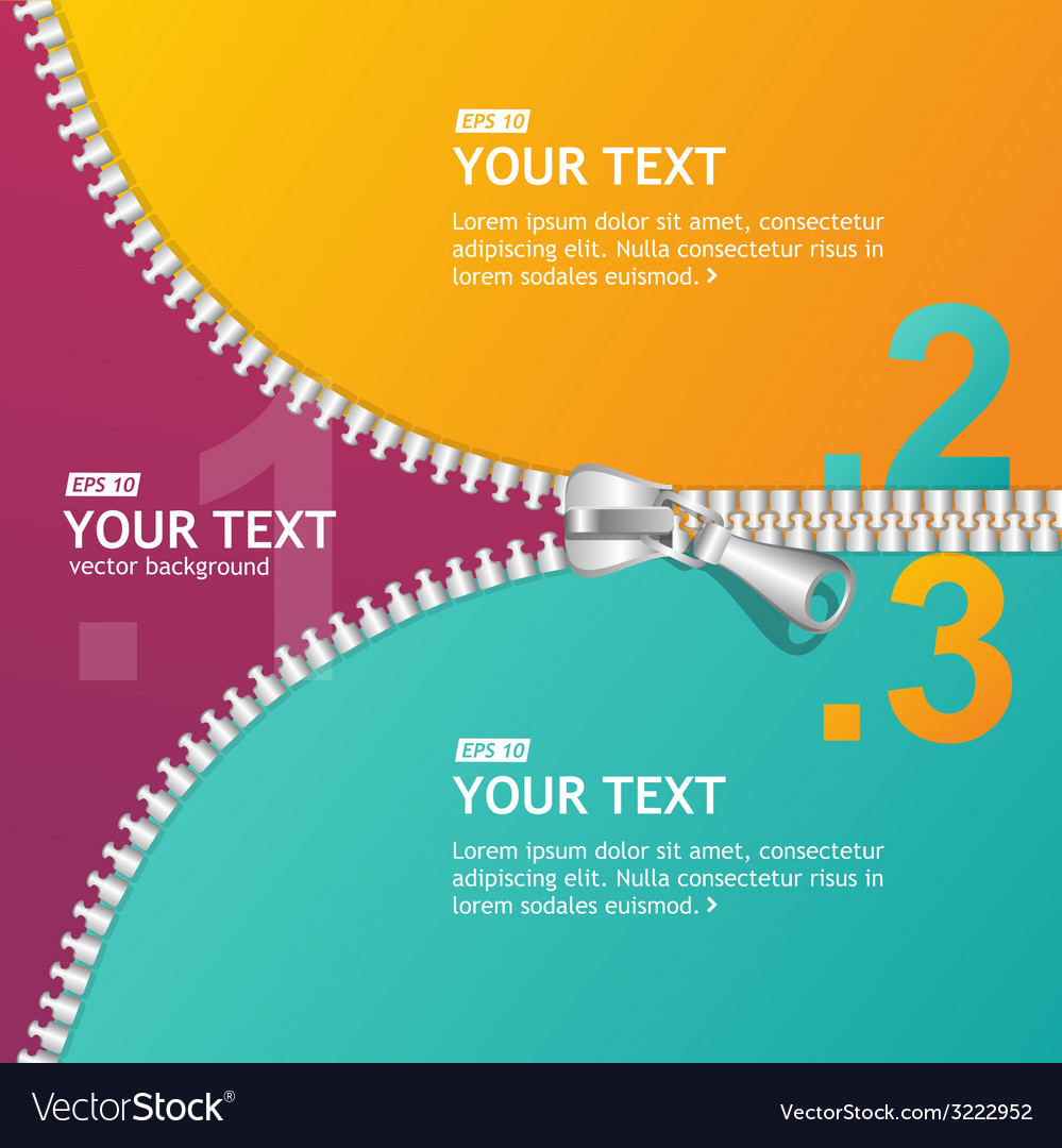 Realistic zippers banner 1 2 3 concept vector | Price: 1 Credit (USD $1)