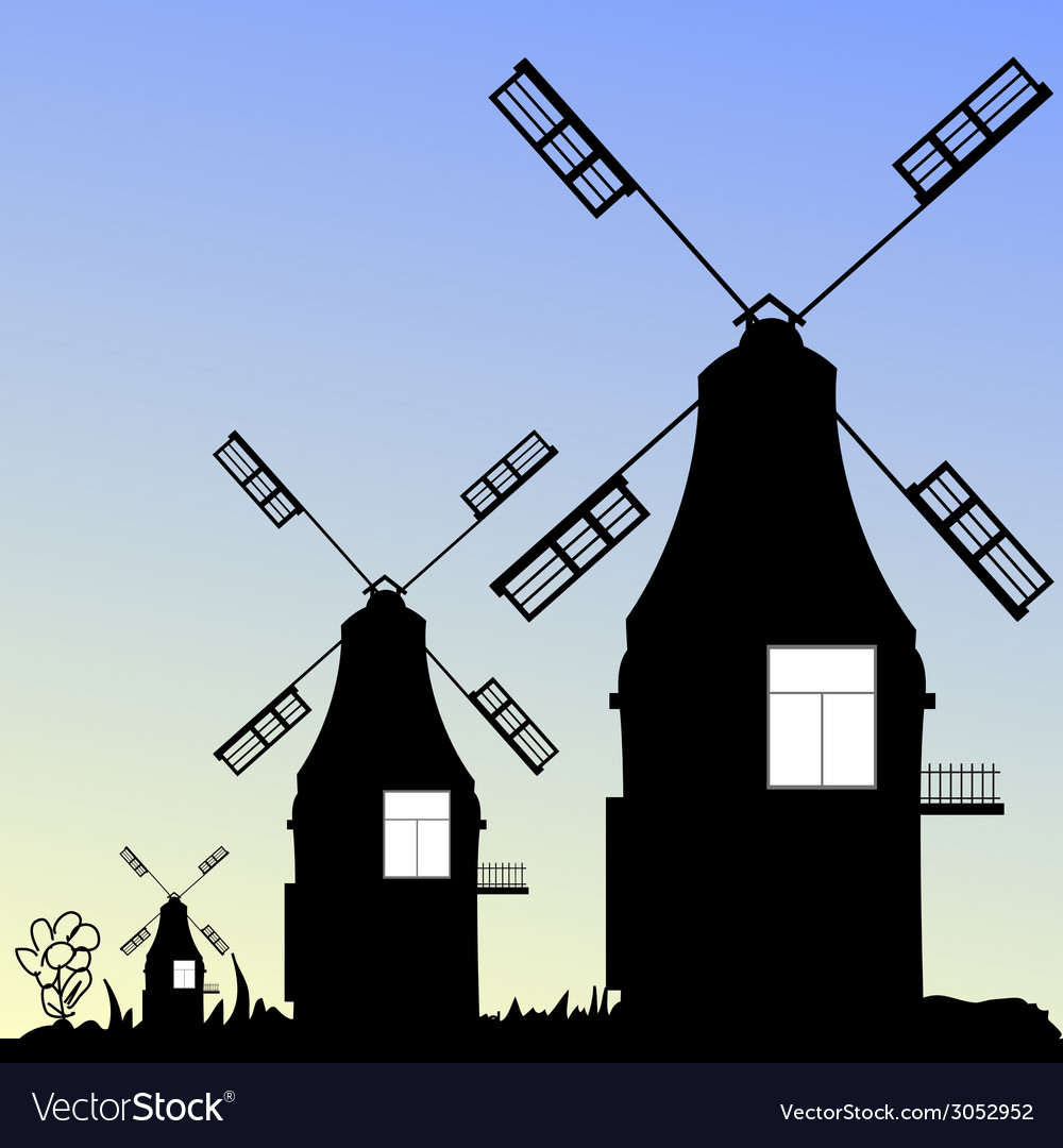 Windmill three in black vector | Price: 1 Credit (USD $1)