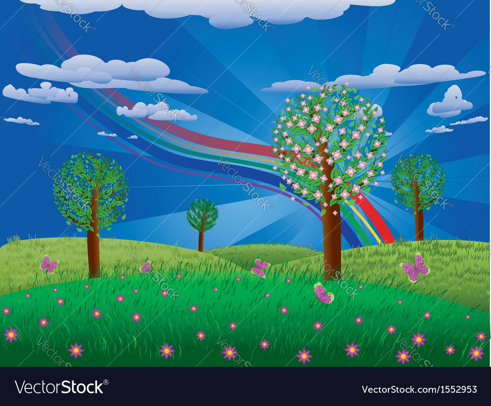 Blooming tree on grass field vector | Price: 1 Credit (USD $1)