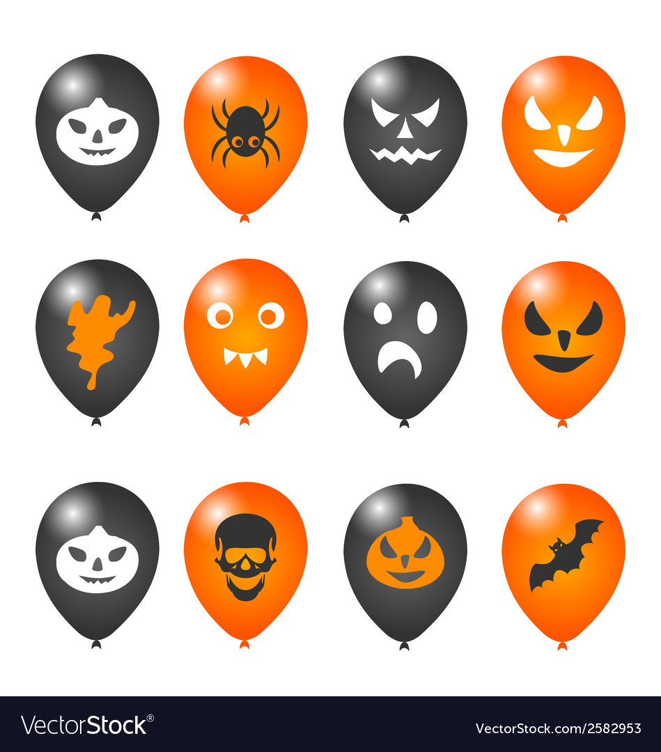 Colorful balloons for halloween party vector | Price: 1 Credit (USD $1)
