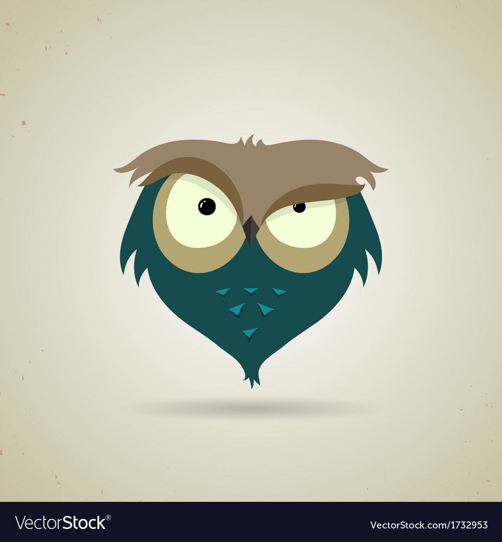 Cute little blue and grey cartoon owl vector | Price: 1 Credit (USD $1)