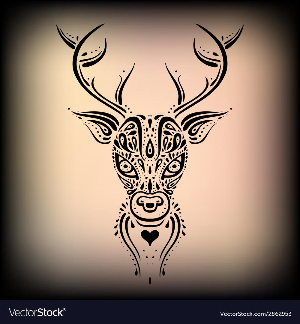 Deer head ethnic pattern vector | Price: 1 Credit (USD $1)