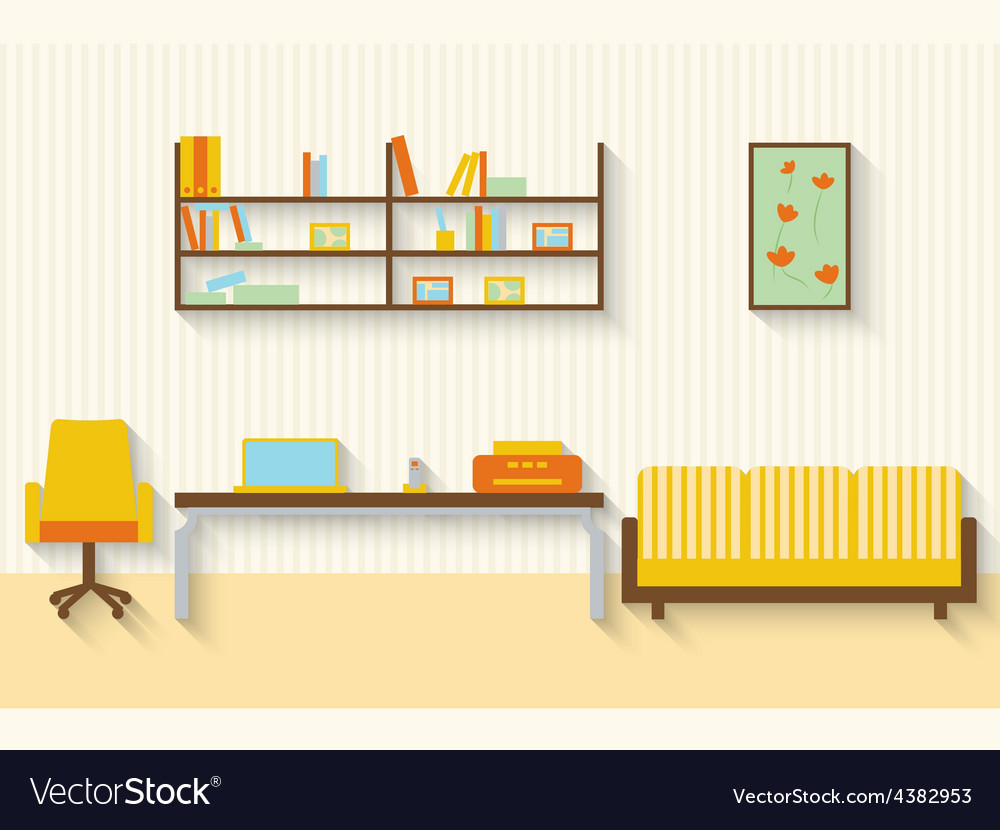 Flat living room with furniture and long shadows vector | Price: 1 Credit (USD $1)