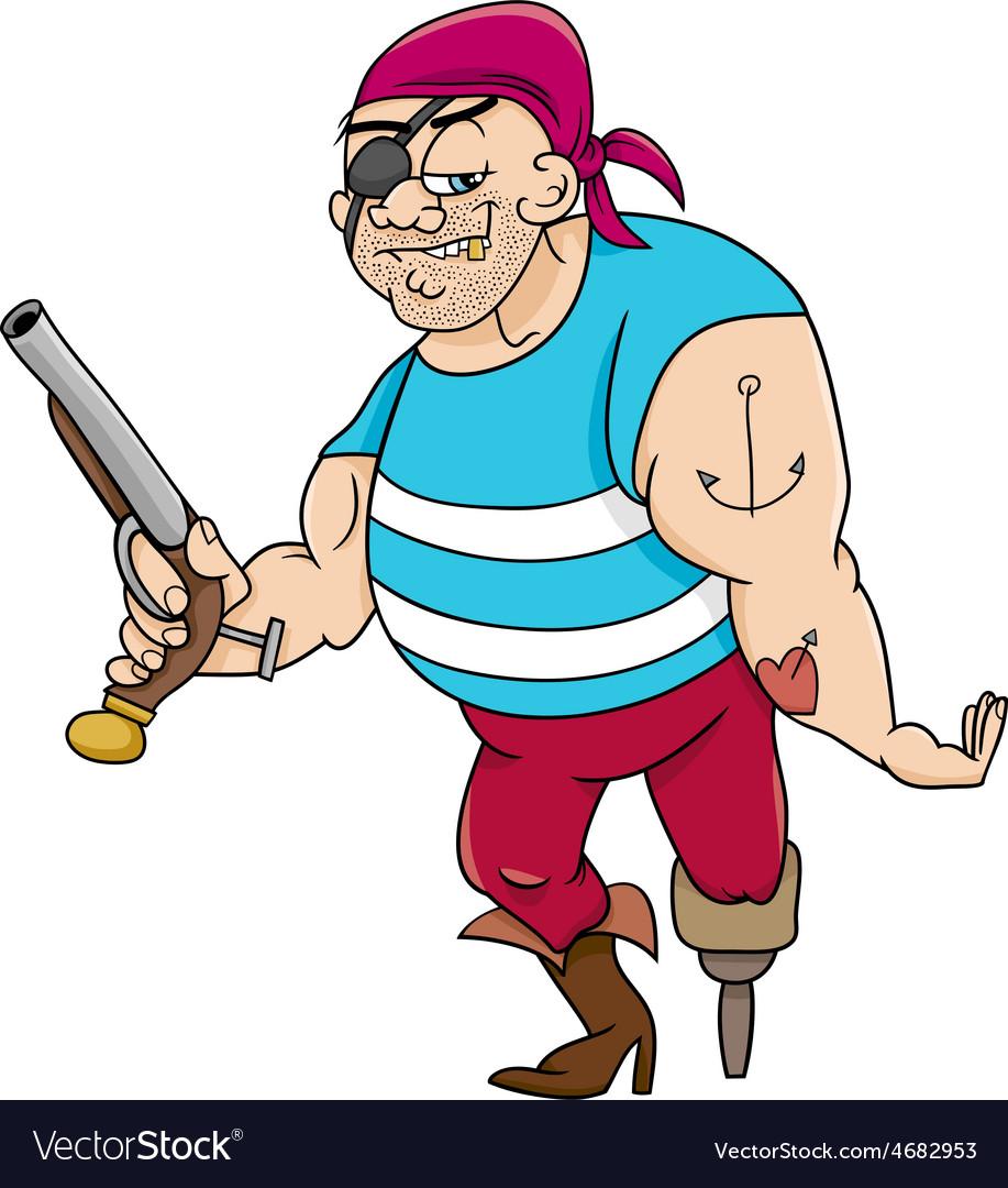 Funny pirate cartoon vector | Price: 1 Credit (USD $1)