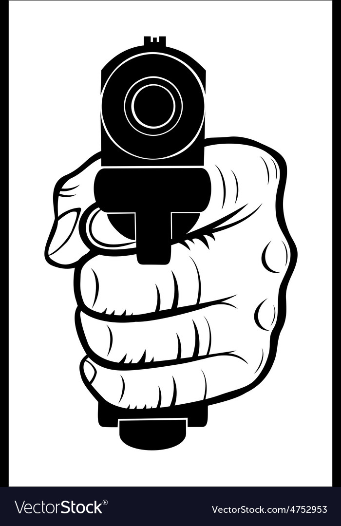 Hand pointing with the gun at you vector | Price: 1 Credit (USD $1)