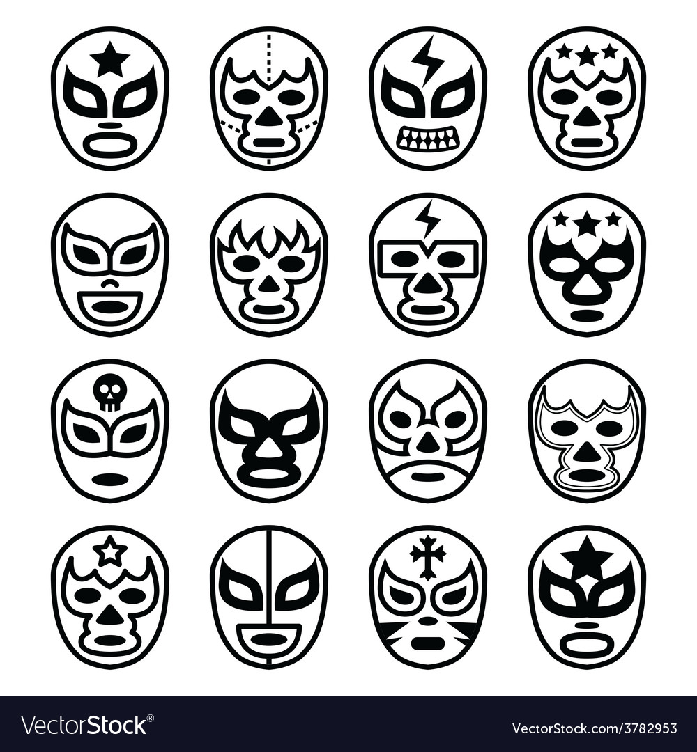 Lucha libre mexican wrestling masks - line icons vector | Price: 1 Credit (USD $1)