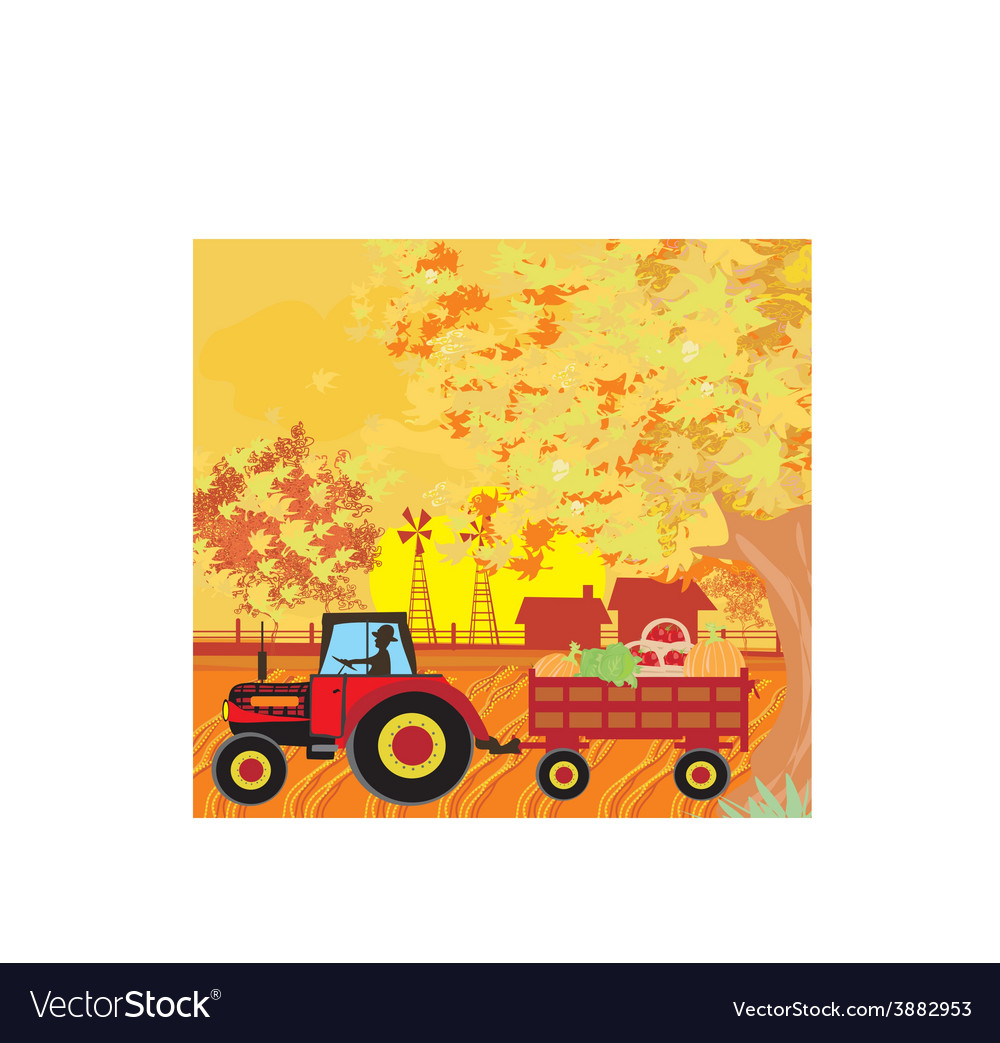 Man driving a tractor with a trailer full of vector   Price: 1 Credit (USD $1)