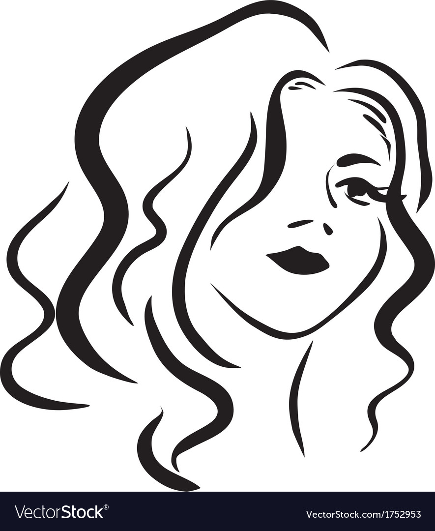 Monochromatic face of beautiful woman vector | Price: 1 Credit (USD $1)