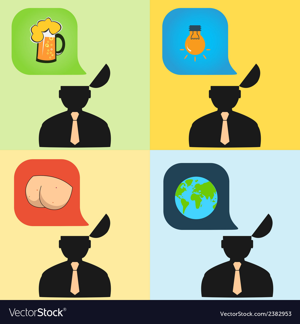 Set of with human thoughts vector | Price: 1 Credit (USD $1)