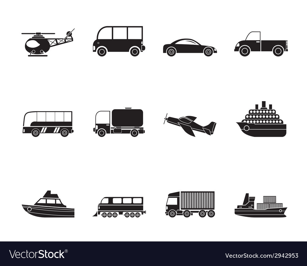 Silhouette travel and transportation icons vector | Price: 1 Credit (USD $1)