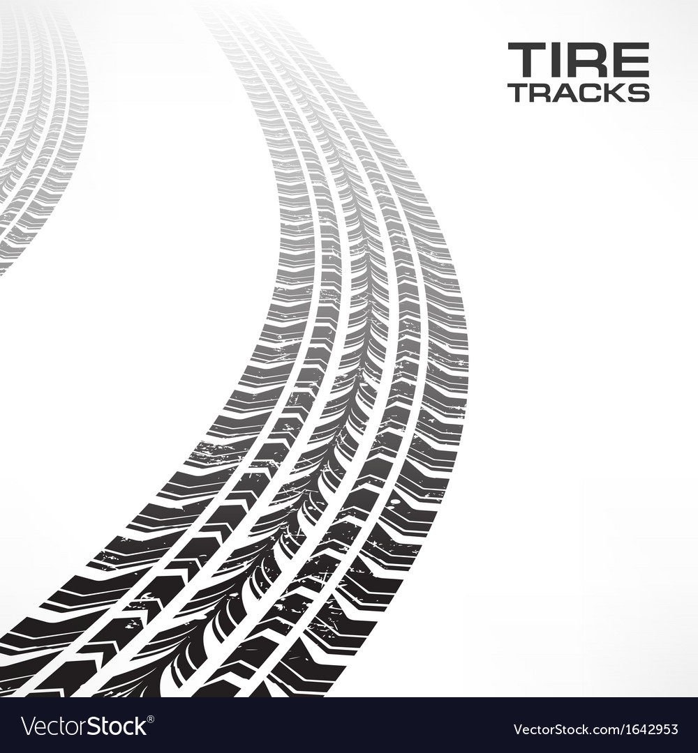 Tire tracks on white vector | Price: 1 Credit (USD $1)