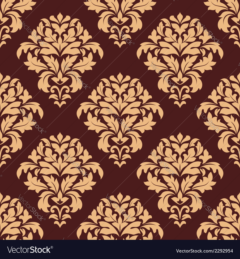 Beige and maroon seamless damask pattern vector | Price: 1 Credit (USD $1)
