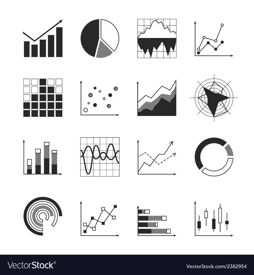 Business chart icons vector | Price: 1 Credit (USD $1)