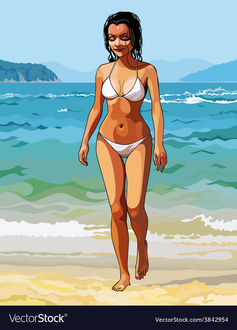 Cartoon of a beautiful girl in a white bikini vector | Price: 3 Credit (USD $3)