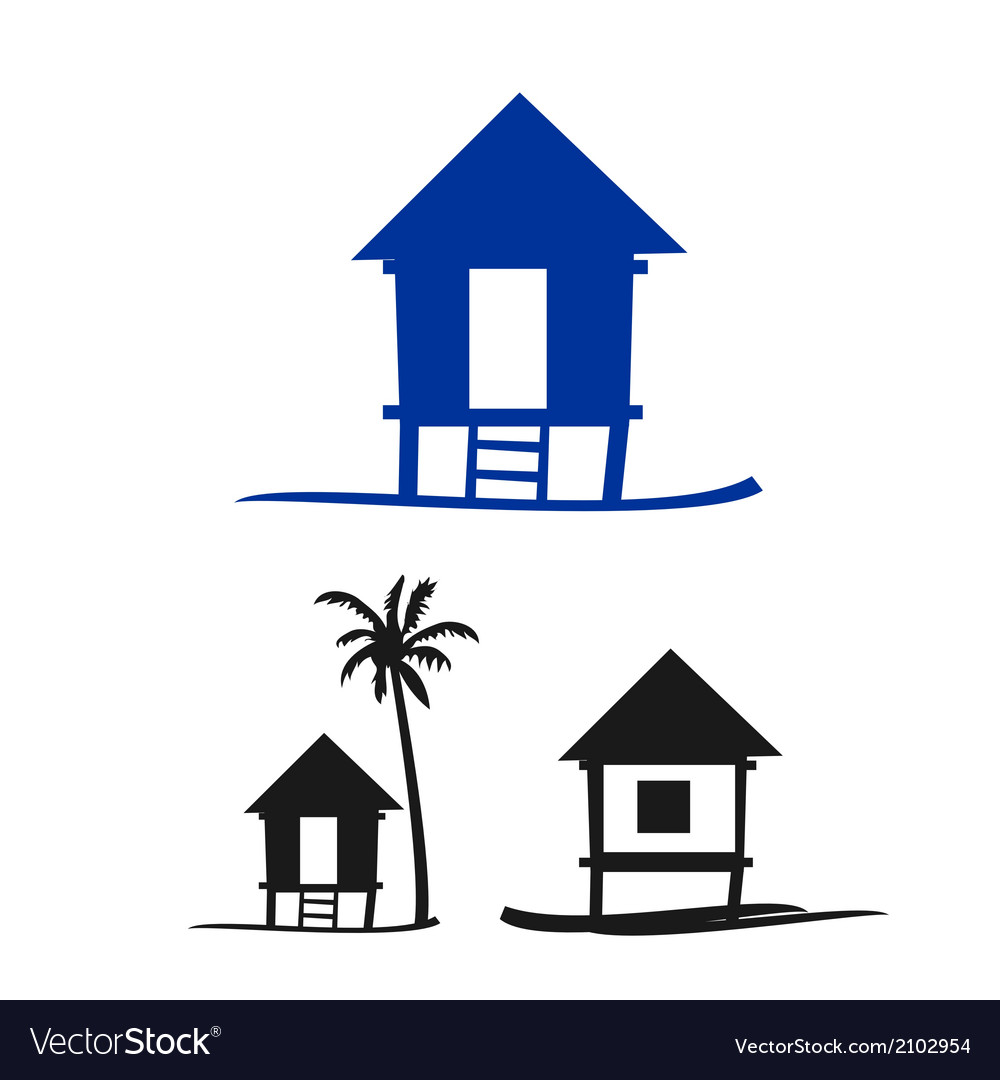 Collection of small nipa hut on a white background vector | Price: 1 Credit (USD $1)