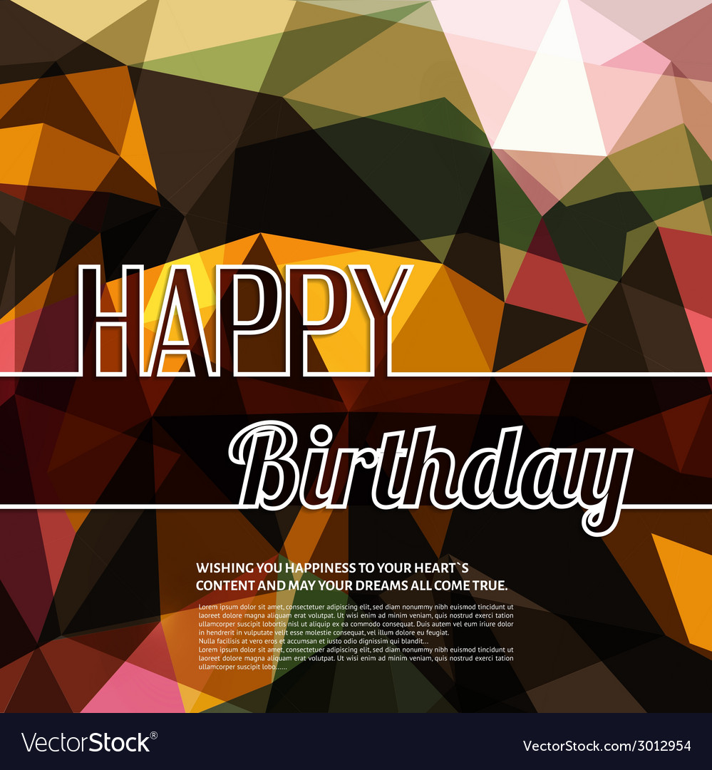 Colorful birthday wish on triangular background vector   Price: 1 Credit (USD $1)