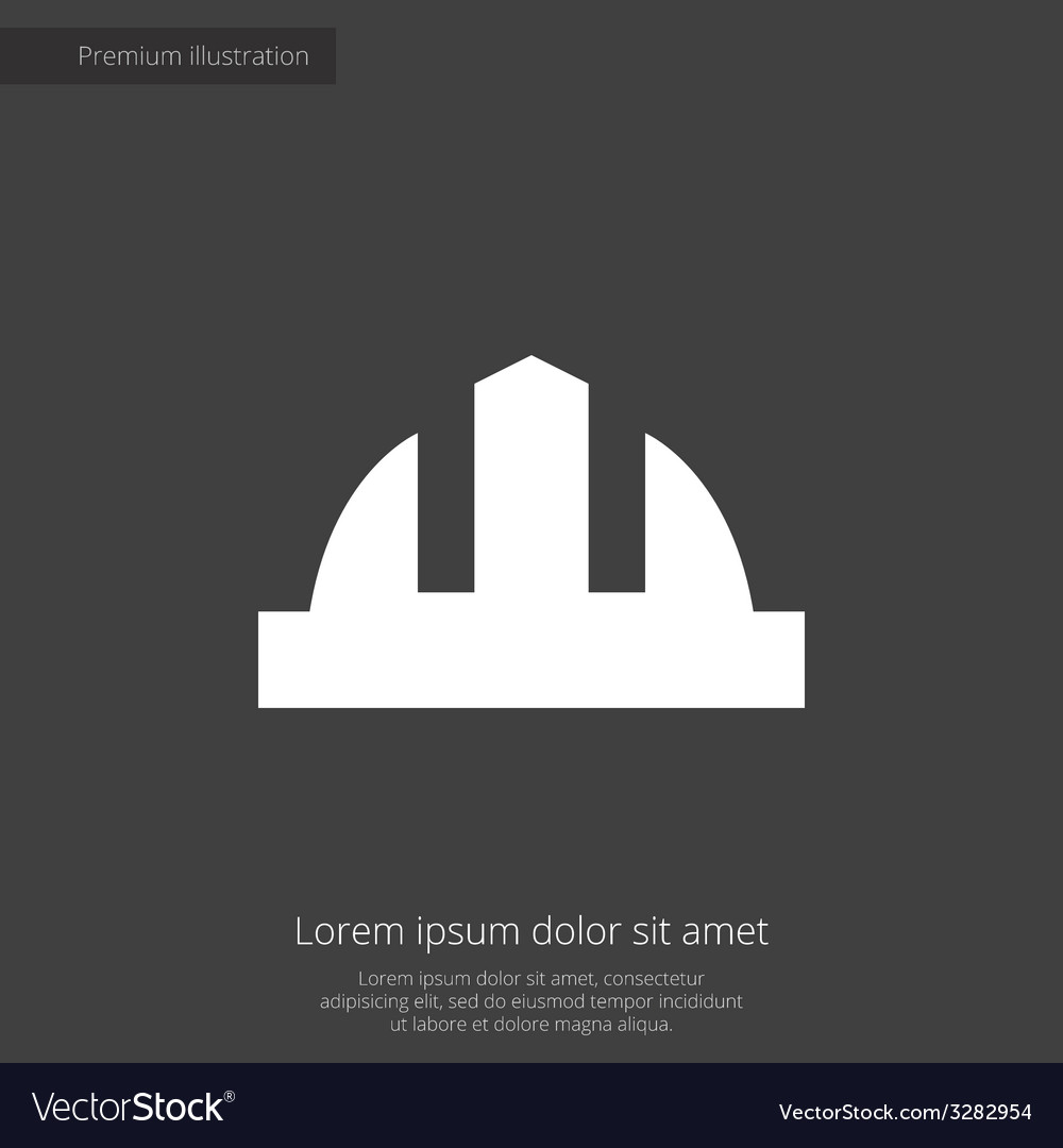 Construction helmet premium icon white on dark bac vector | Price: 1 Credit (USD $1)
