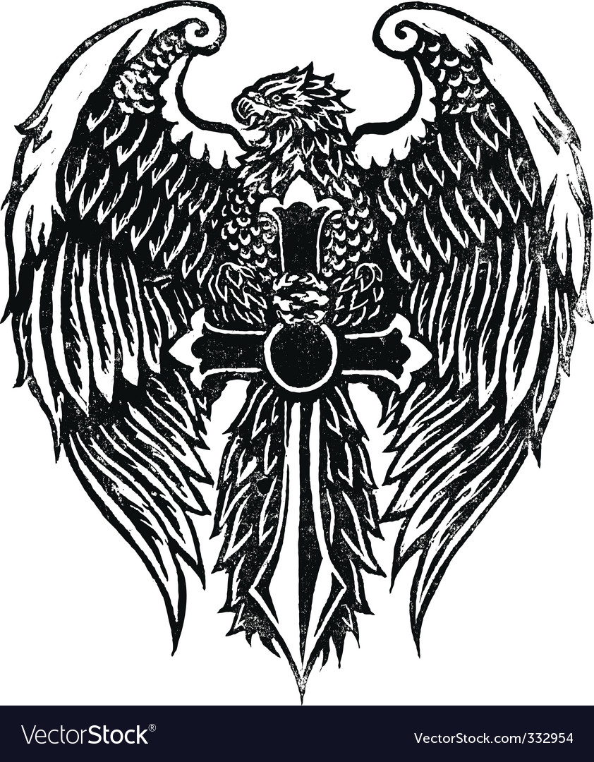 Eagle with sword stamp vector | Price: 1 Credit (USD $1)