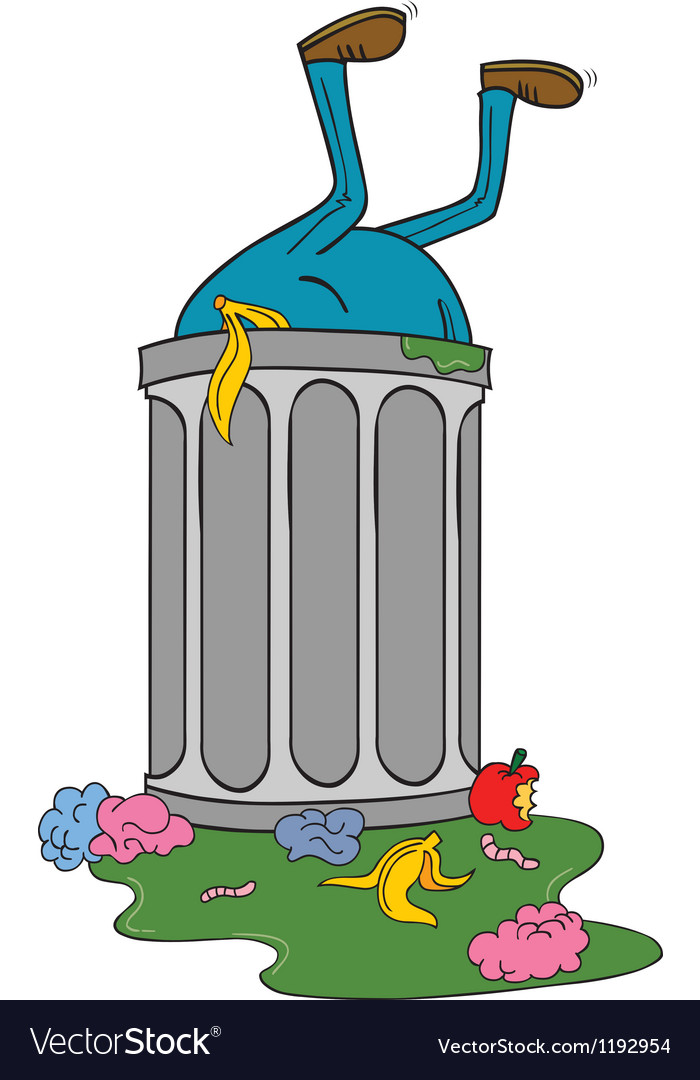Entering trash bin vector | Price: 1 Credit (USD $1)
