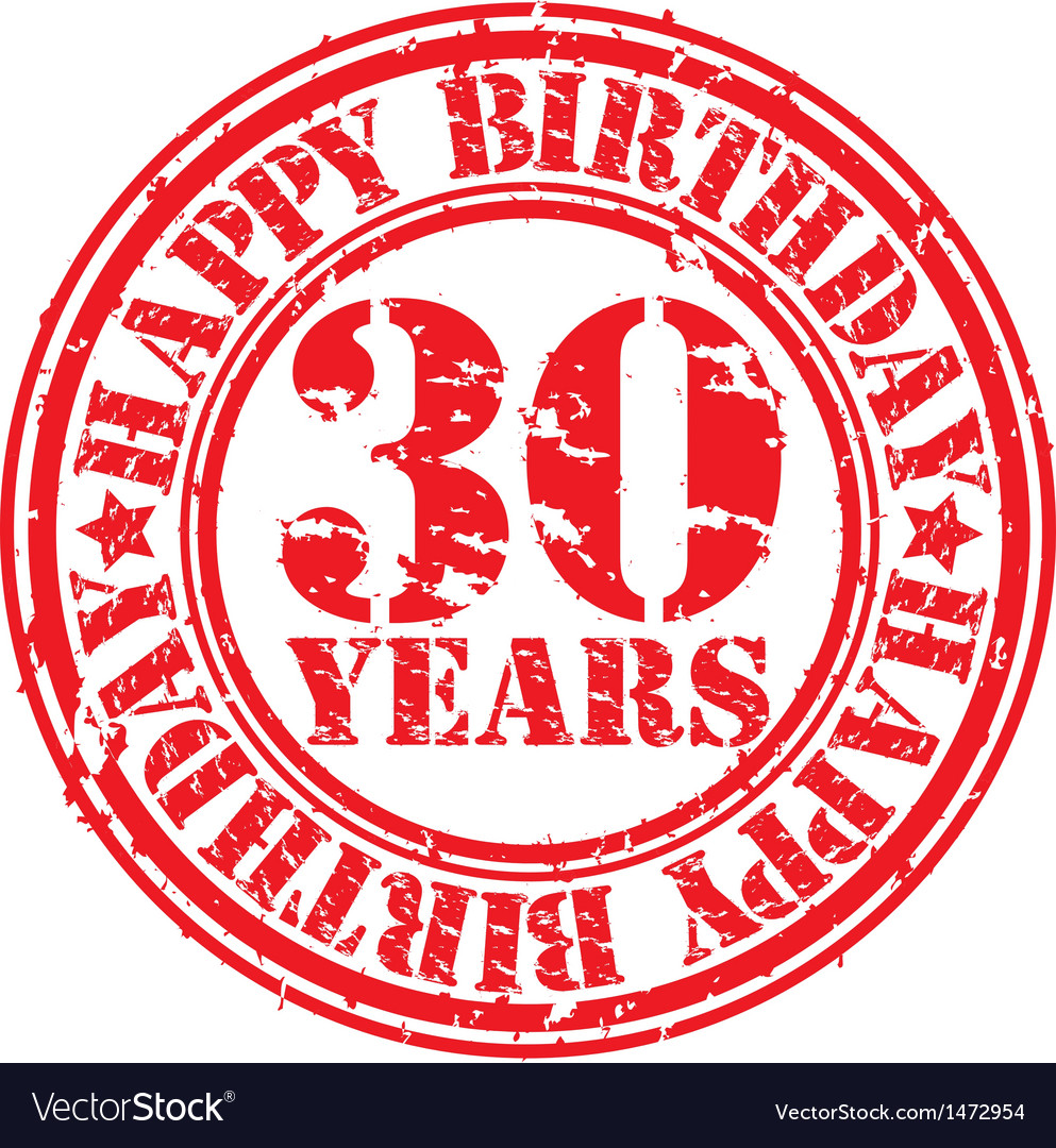 Grunge 30 years happy birthday rubber stamp vector | Price: 1 Credit (USD $1)
