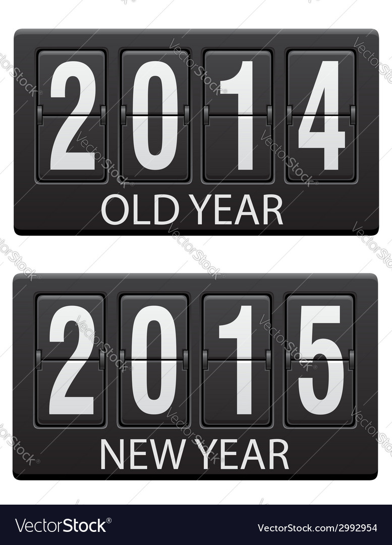 Mechanical scoreboard old and the new year vector | Price: 1 Credit (USD $1)