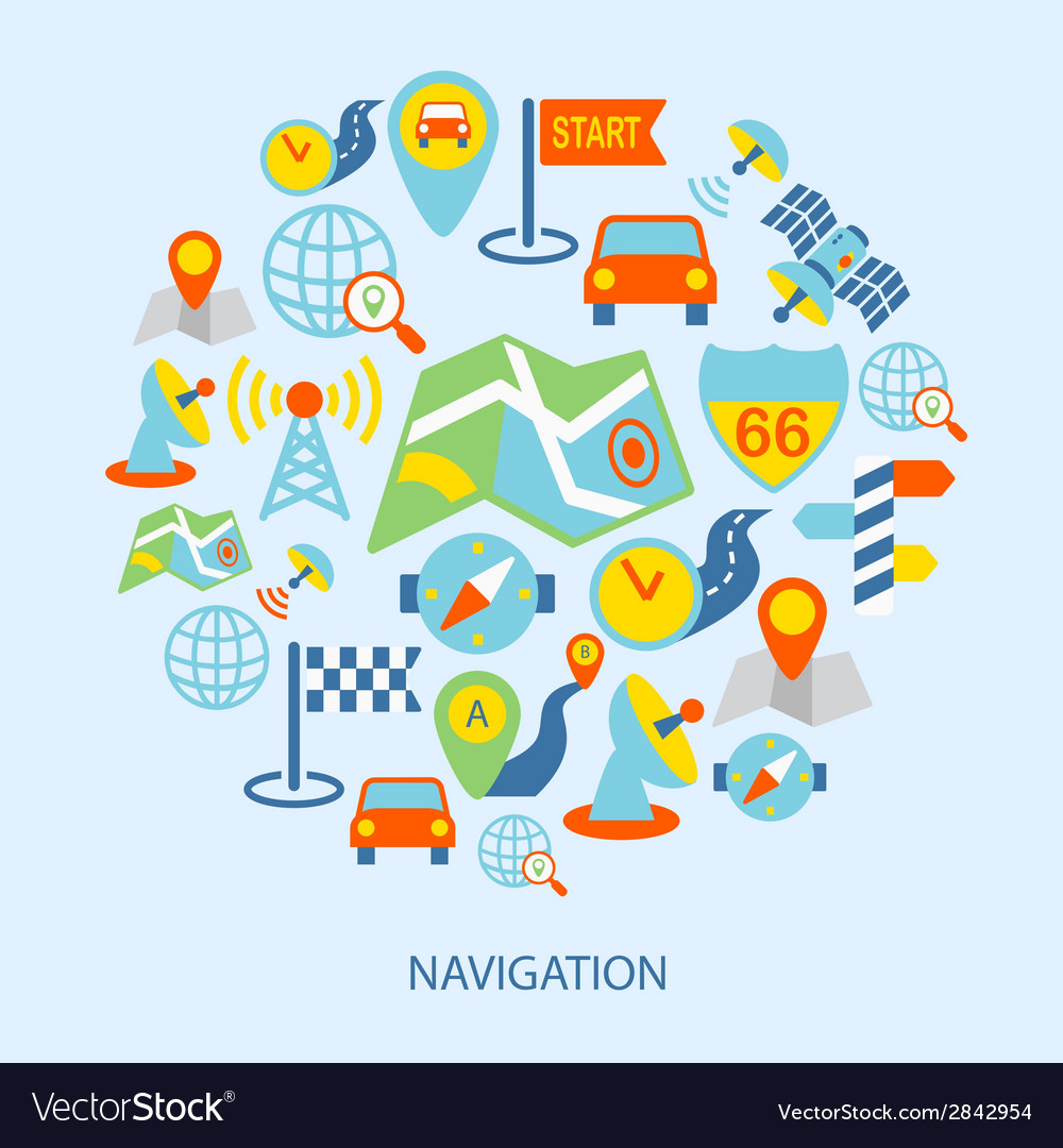 Mobile navigation icons flat vector | Price: 1 Credit (USD $1)