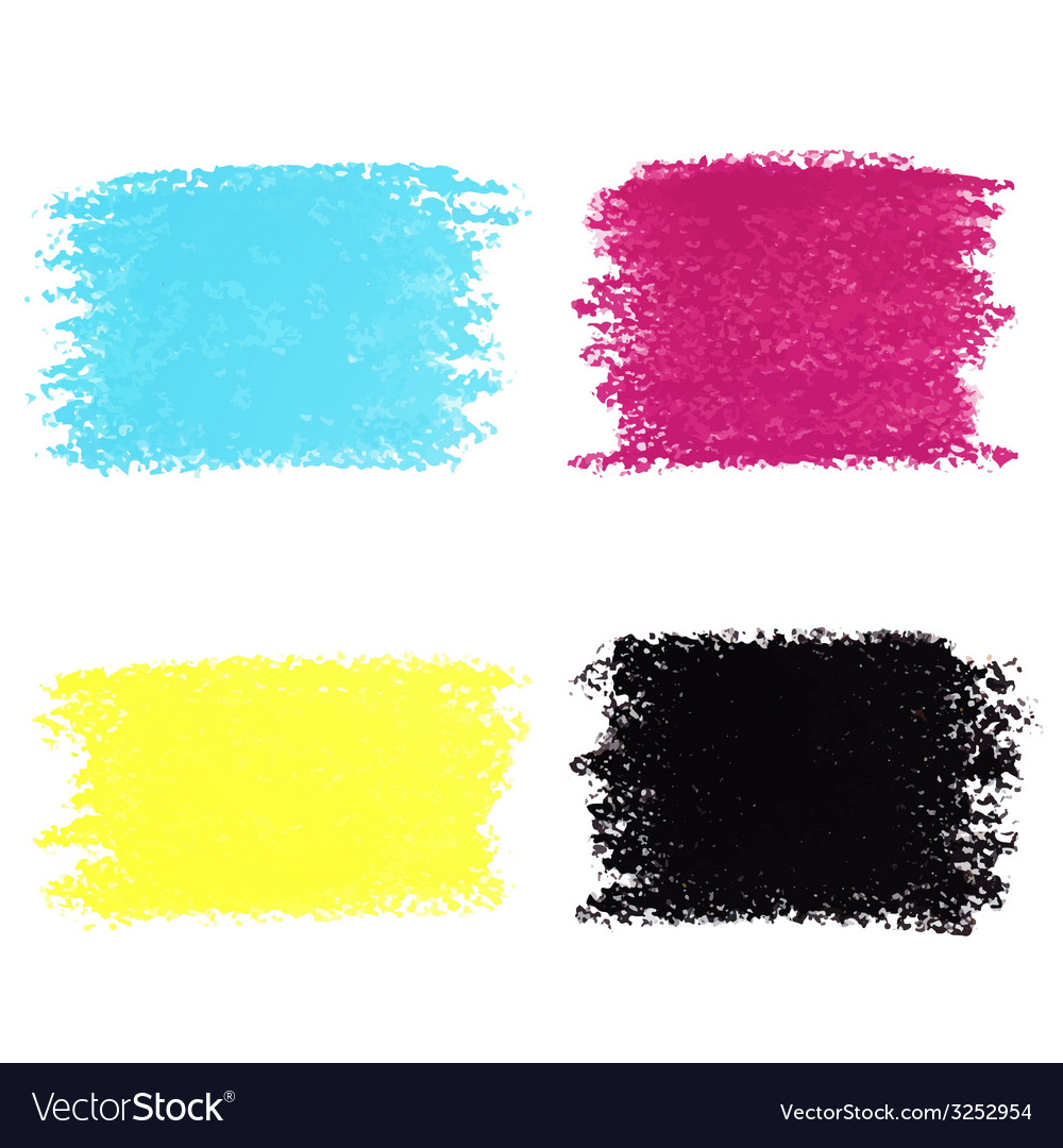 Set of cmyk pastel crayon spots isolated on white vector | Price: 1 Credit (USD $1)