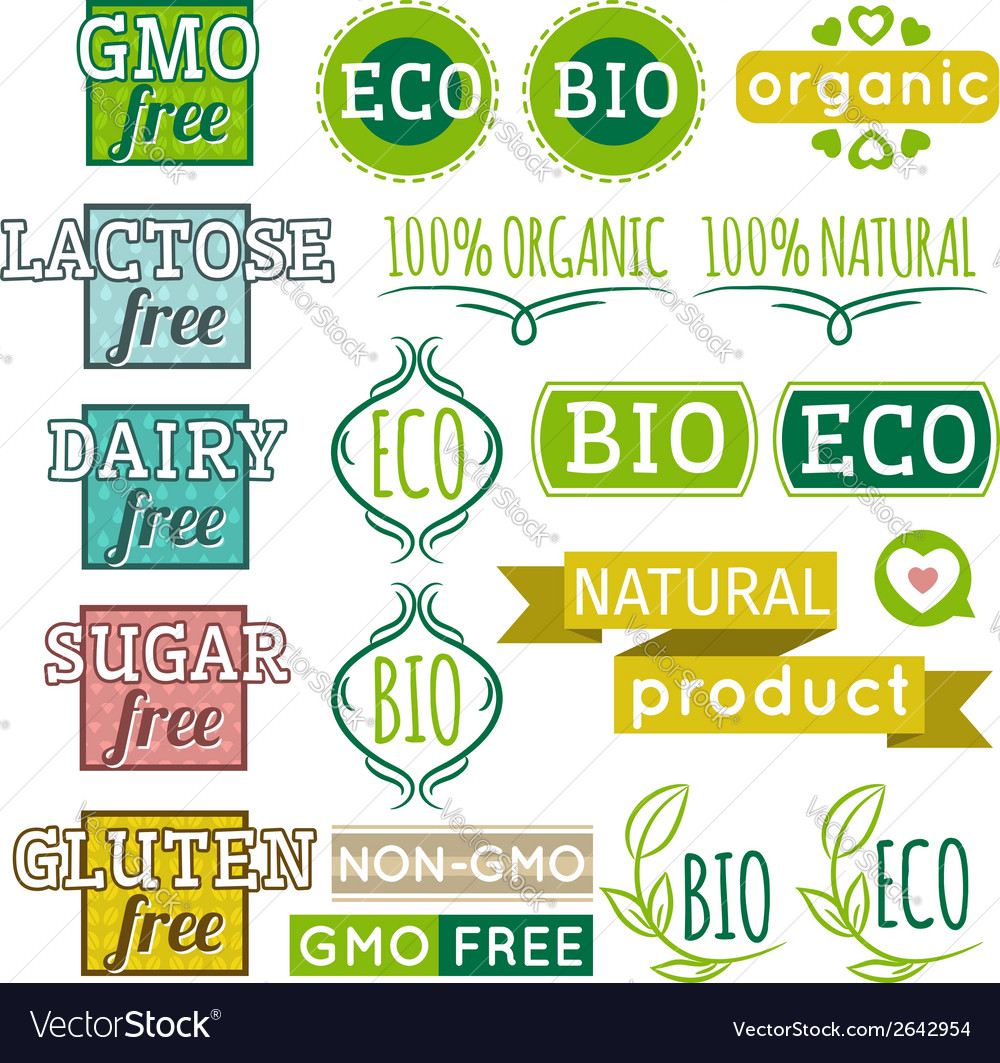 Set of natural organic product labels and emblems vector | Price: 1 Credit (USD $1)