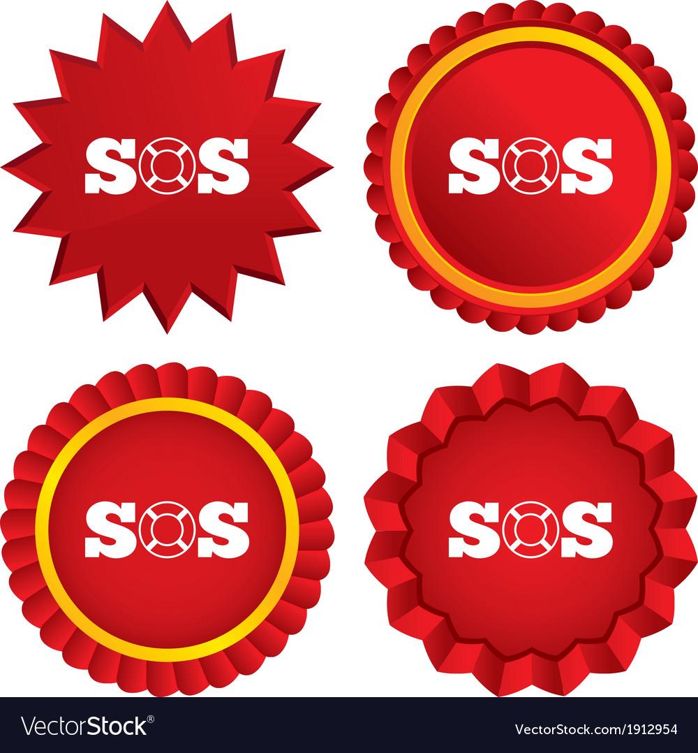 Sos sign icon lifebuoy symbol vector   Price: 1 Credit (USD $1)