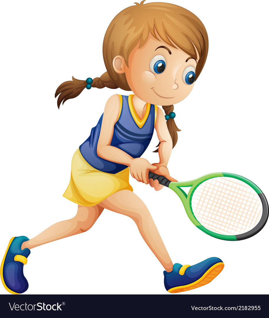 A young girl playing tennis vector | Price: 1 Credit (USD $1)
