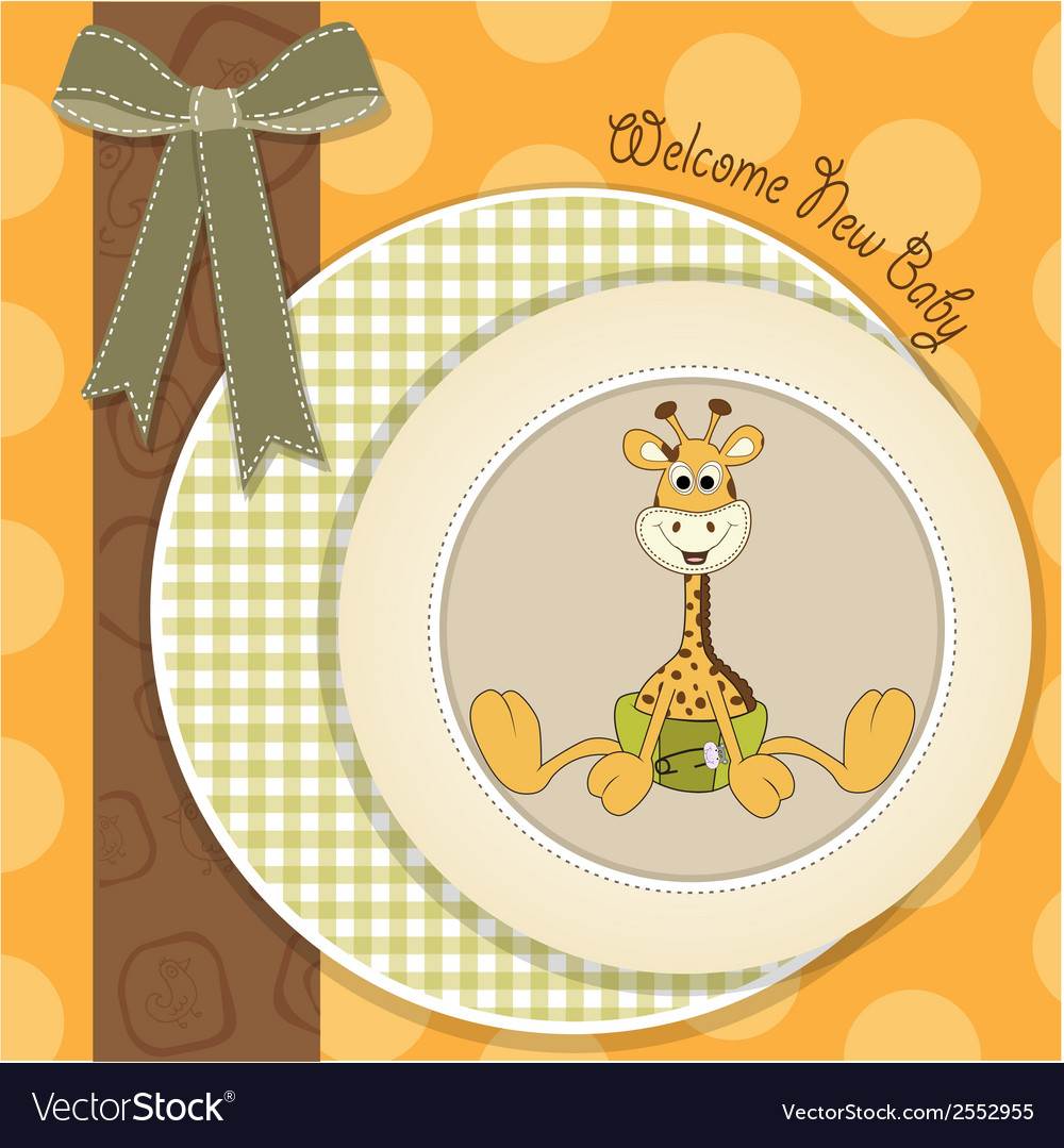 Baby shower card with baby giraffe vector | Price: 1 Credit (USD $1)
