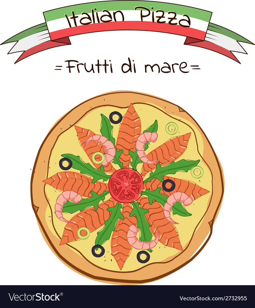Beautiful of italian pizza frutti di mare vector | Price: 1 Credit (USD $1)