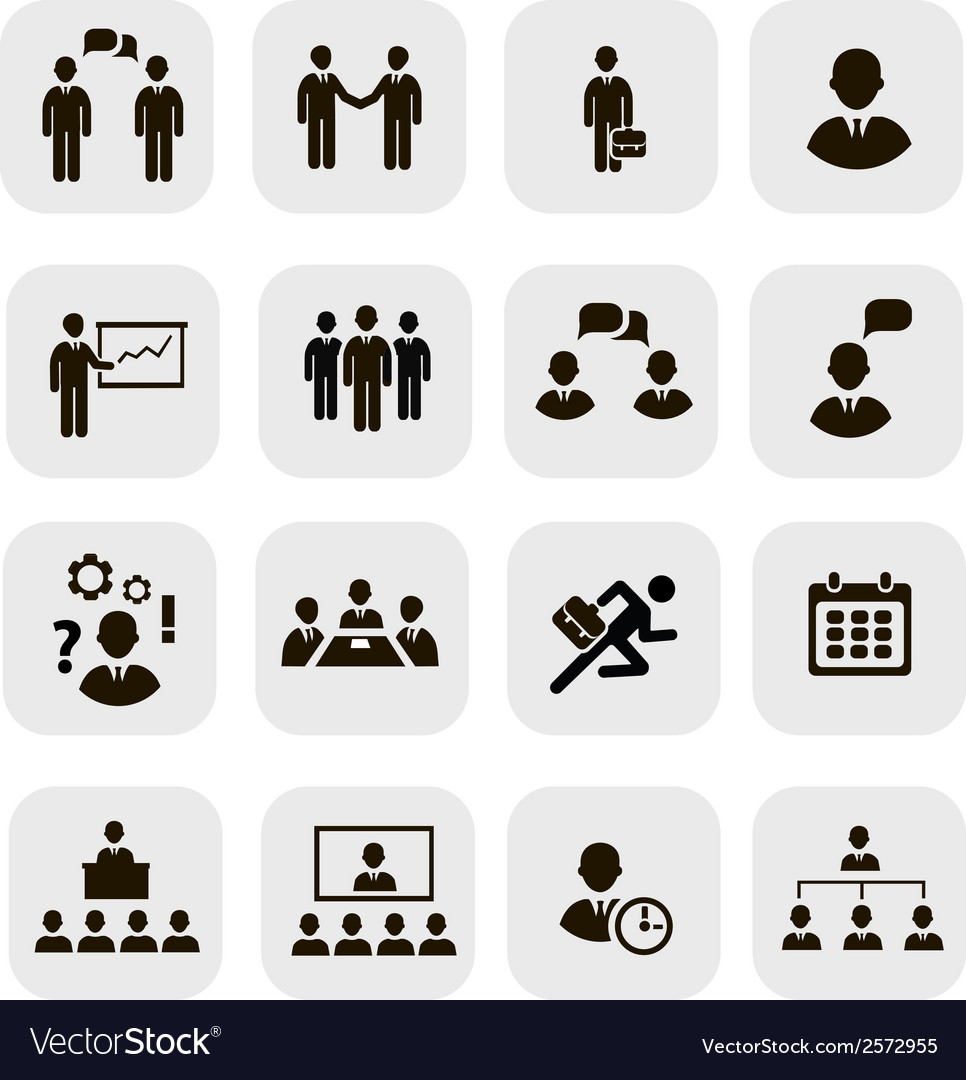 Business people meetings icons vector | Price: 1 Credit (USD $1)