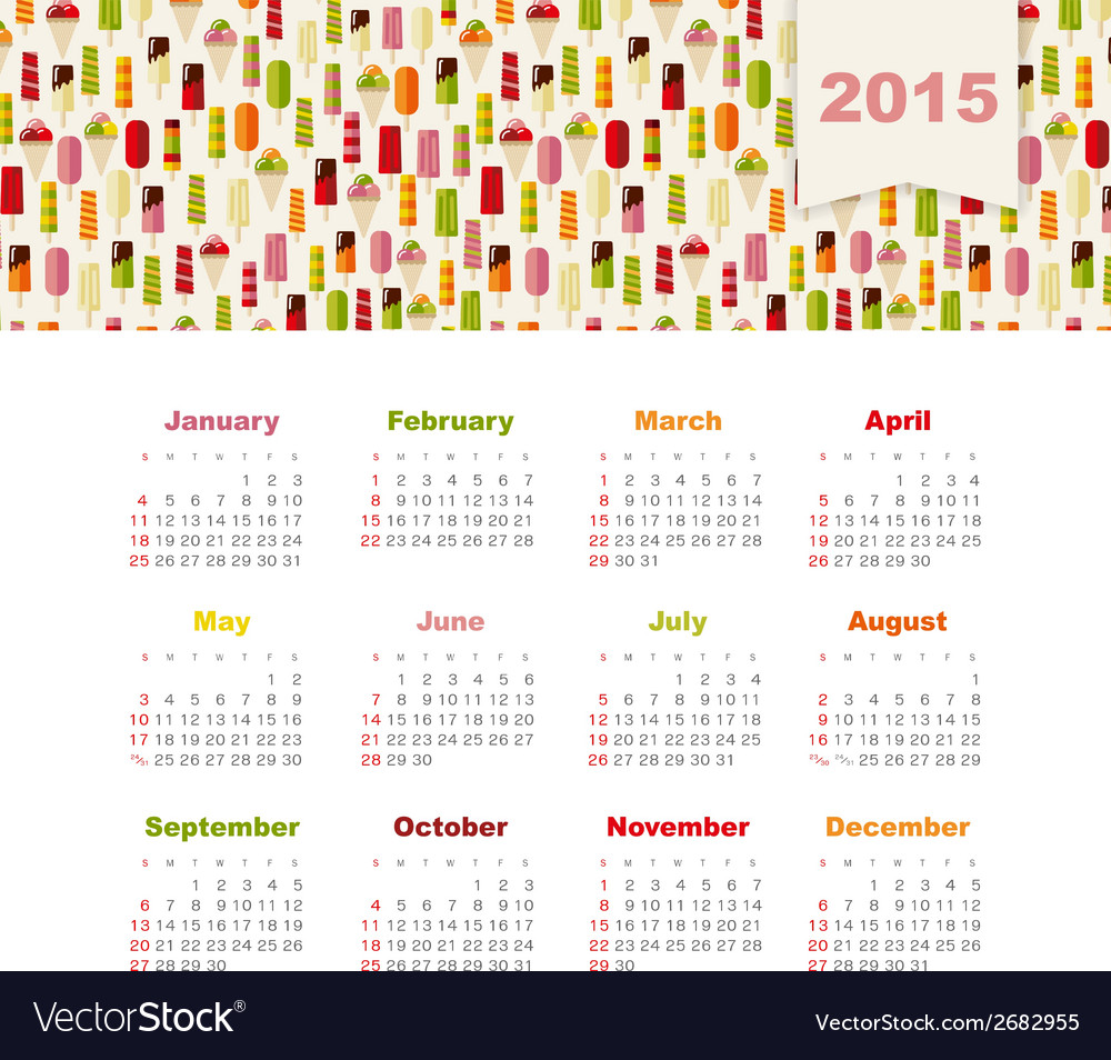 Calendar 2015 year with colored ice cream vector | Price: 1 Credit (USD $1)