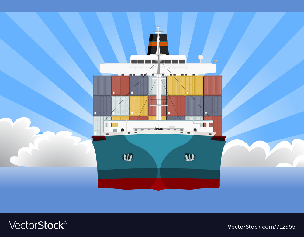 Cargo container ship vector | Price: 1 Credit (USD $1)