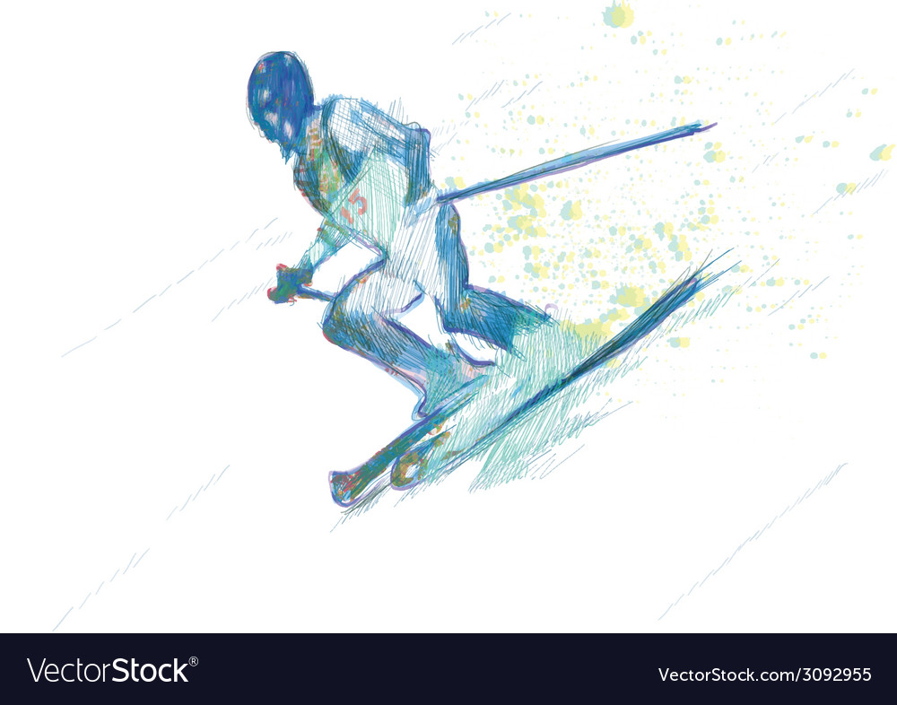 Down hill skiing vector | Price: 1 Credit (USD $1)