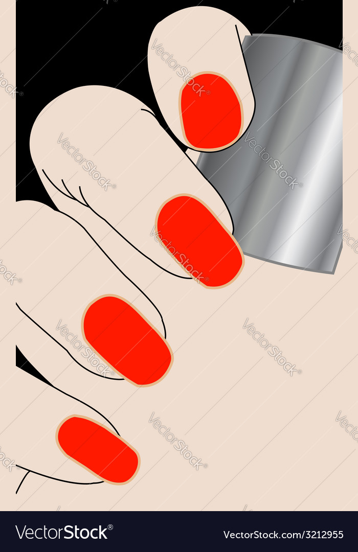 Female fingers with red varnish vector | Price: 1 Credit (USD $1)
