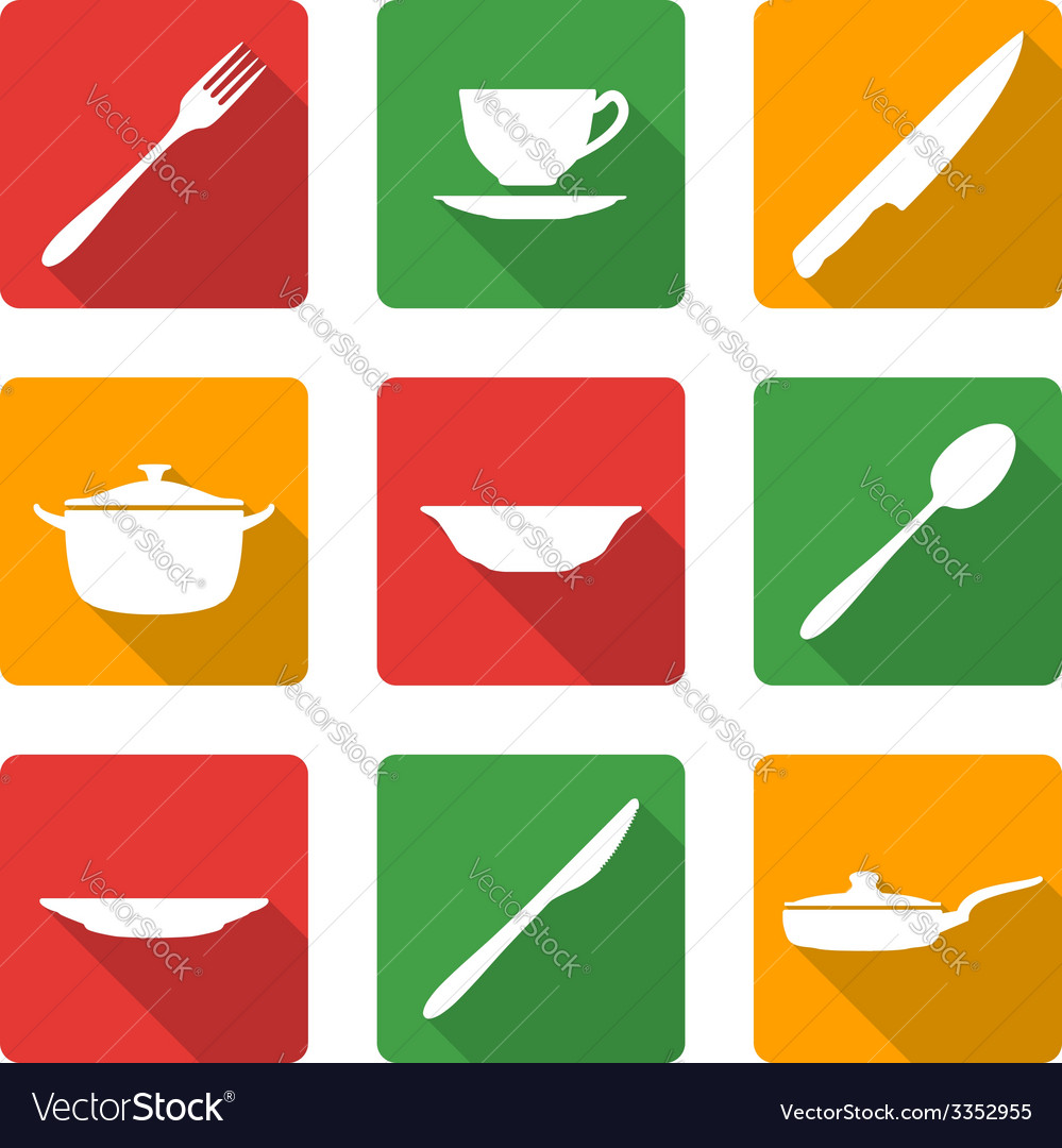 Flat white dinnerwarwe icons vector | Price: 1 Credit (USD $1)