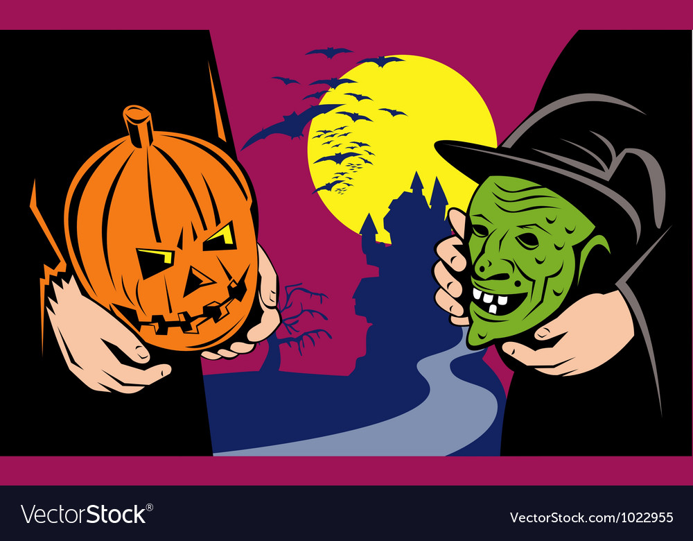 Halloween mask jack-o-lantern witch retro vector | Price: 1 Credit (USD $1)