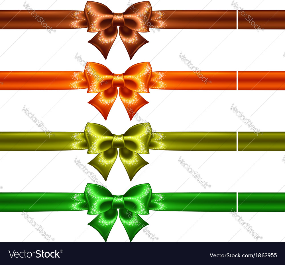 Holiday bows with glitter and ribbons vector | Price: 1 Credit (USD $1)