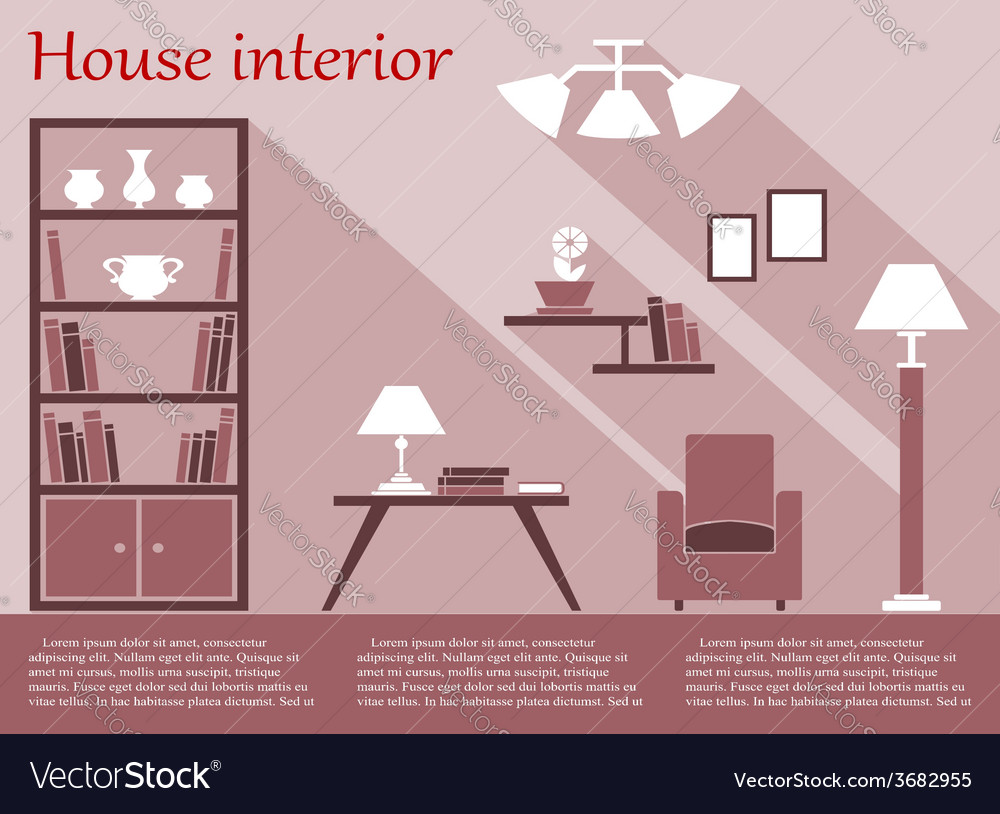 House interior infographic in flat style with vector | Price: 1 Credit (USD $1)