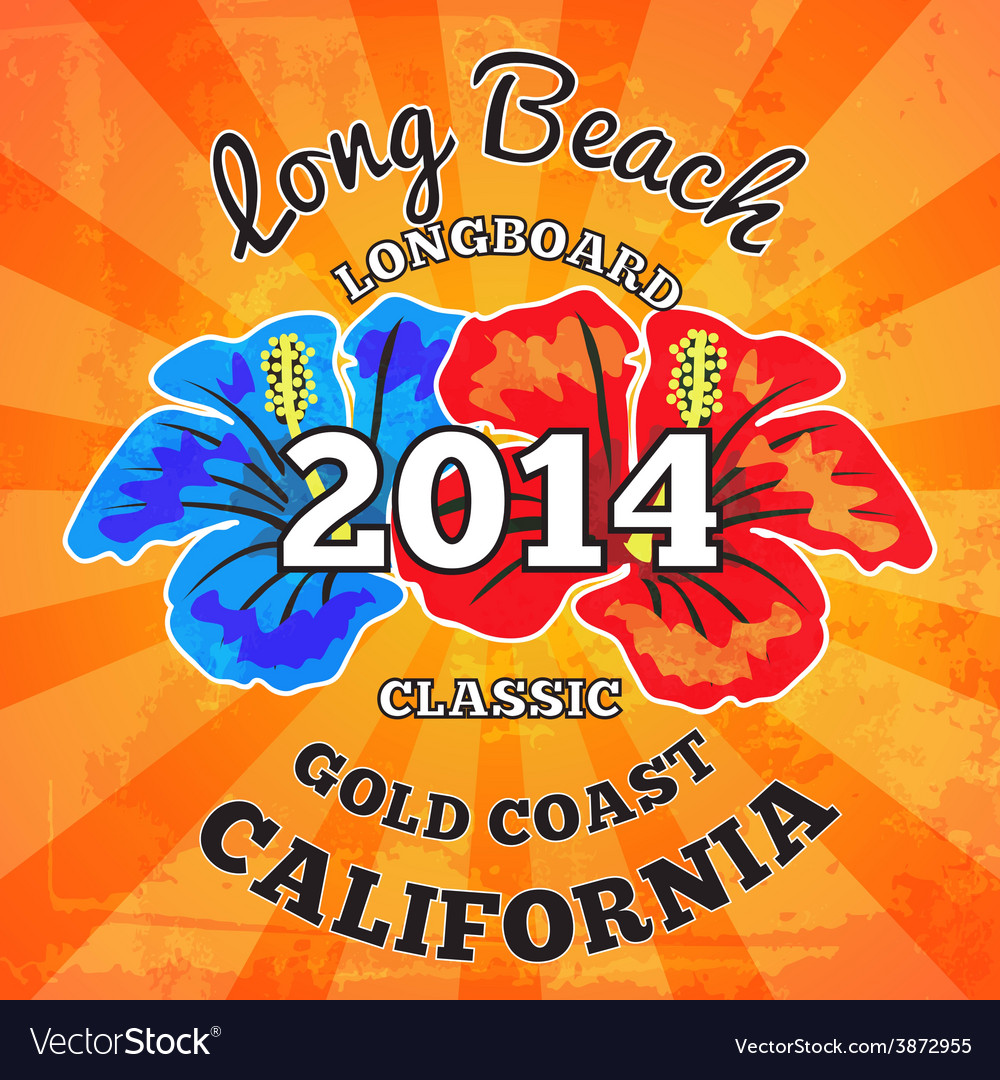 Long beach surfing artwork vector | Price: 1 Credit (USD $1)