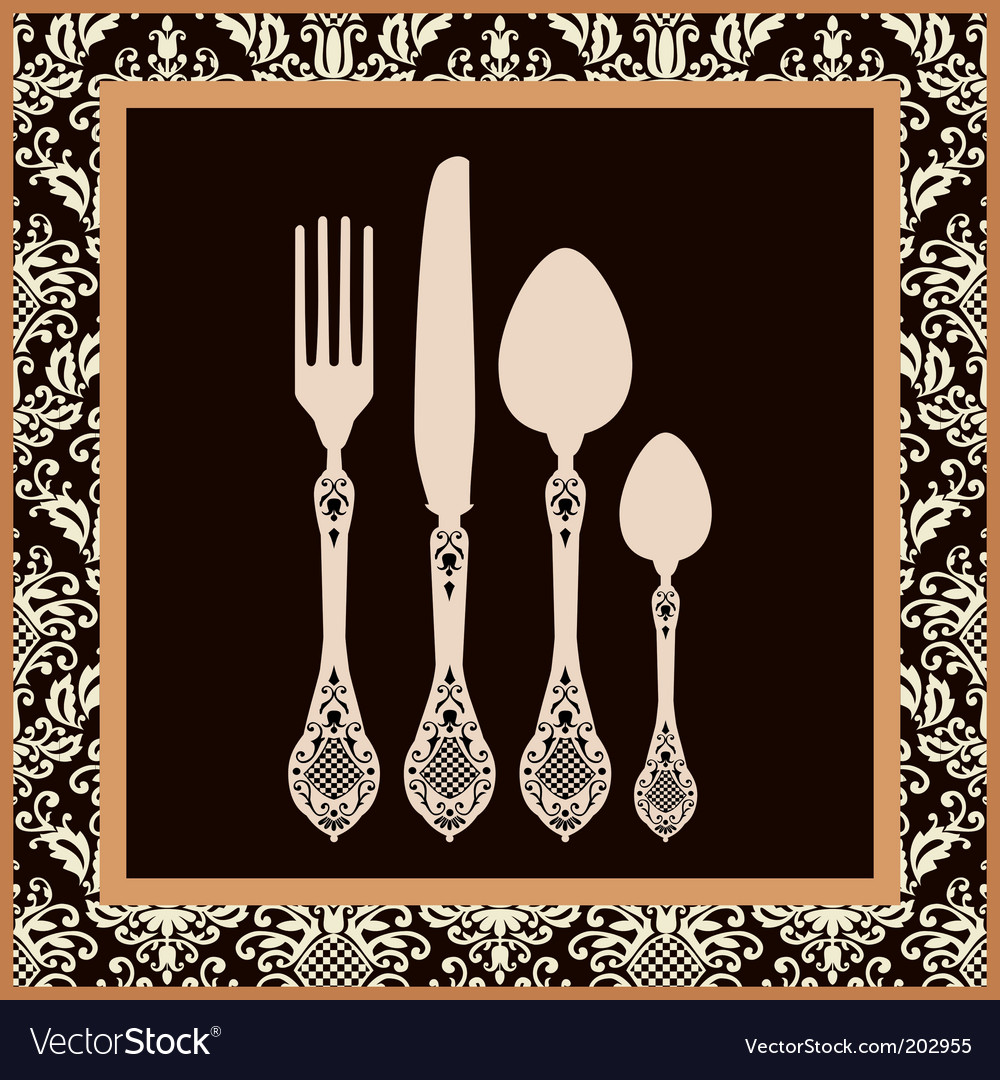 Menu card design with cutlery vector | Price: 1 Credit (USD $1)