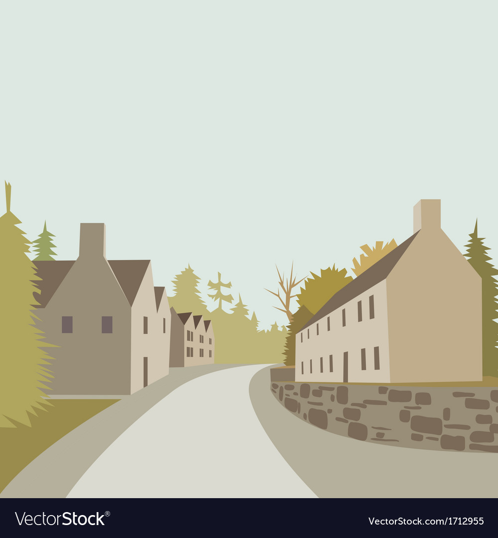 Mountain village spring vector | Price: 3 Credit (USD $3)