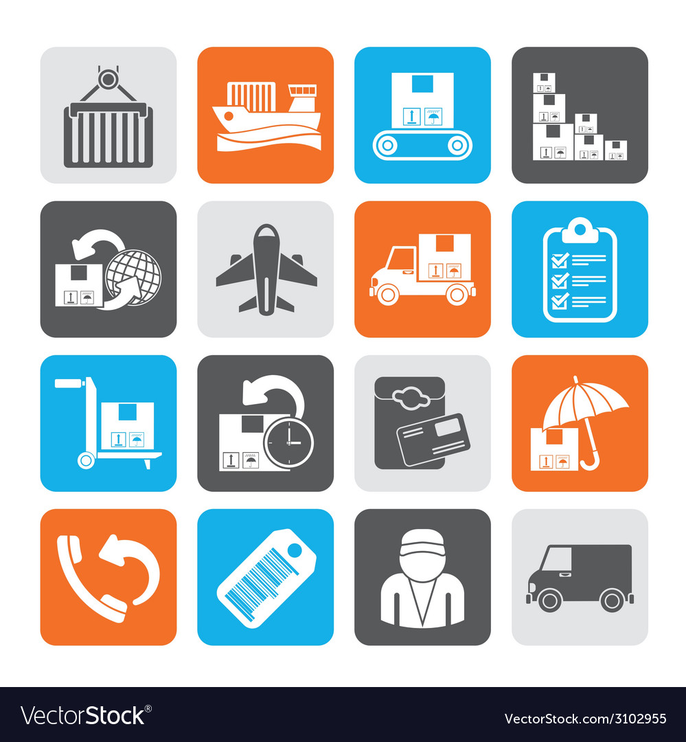 Silhouette shipping and delivery icons vector | Price: 1 Credit (USD $1)
