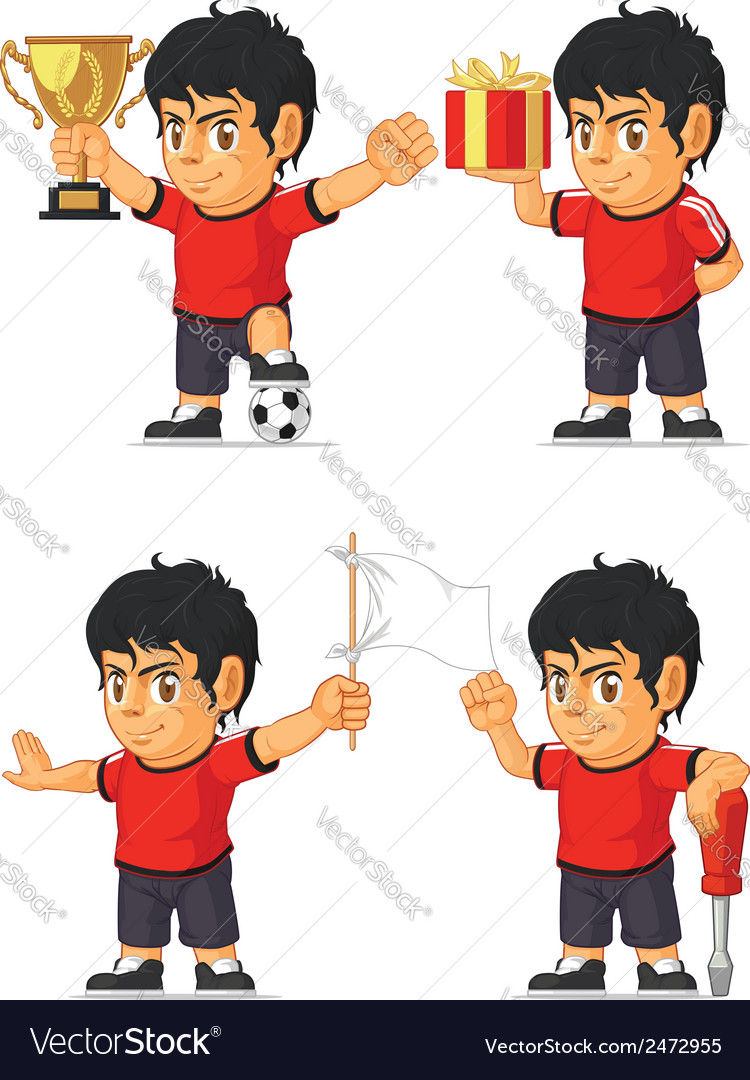 Soccer boy customizable mascot 3 vector | Price: 1 Credit (USD $1)