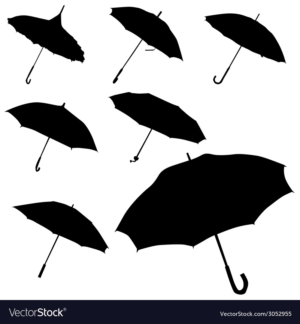 Umbrella black silhouette vector | Price: 1 Credit (USD $1)