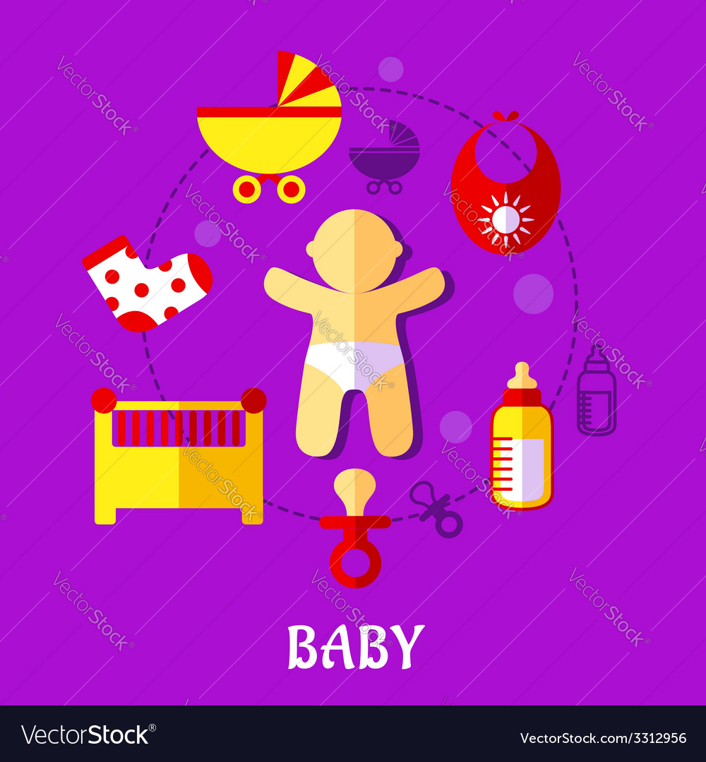 Colorful flat baby design vector | Price: 1 Credit (USD $1)